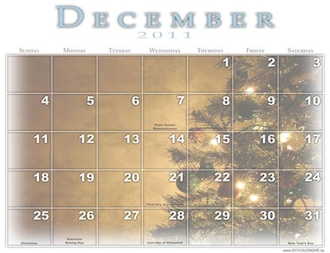 December 2011 Calendar 301 Moved Permanently