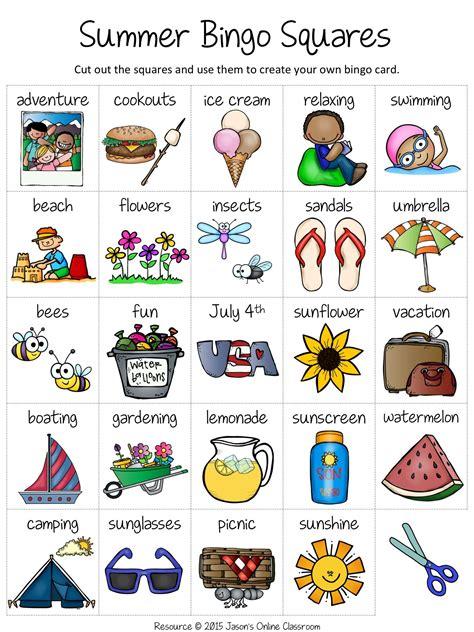 vocabulary bingo cards template free summer create your own luck bingo