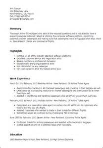 Sle Resume Of Airline Ticketing Professional Airline Ticketing Templates To Showcase Your Talent Myperfectresume