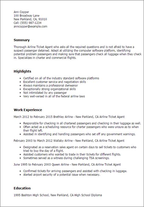 Airline Sales Sle Resume by Professional Airline Ticketing Templates To Showcase Your Talent Myperfectresume
