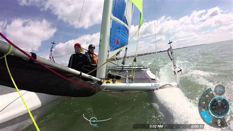 sailing catamaran capsize near capsize on dart 16 catamaran youtube