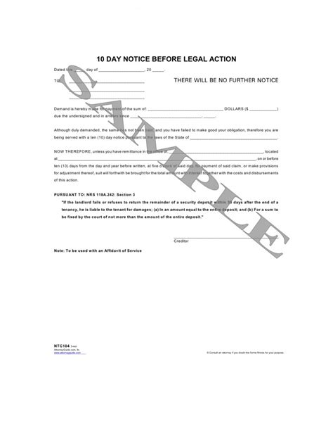 Demand Letter With Notice Of Dishonor 10 Day Notice Before
