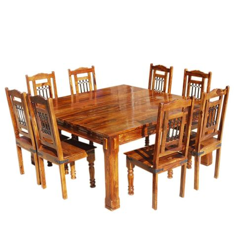 Solid Wood Rustic Square Dining Table Chairs Set Solid Wood Dining Table Set