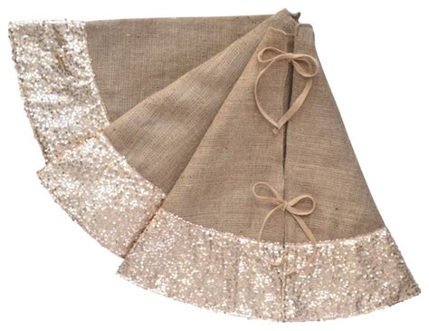 sequin and burlap tree skirt chagne contemporary