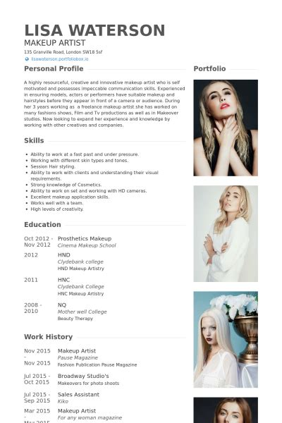 artist cv biography makeup artist resume sles visualcv resume sles