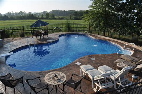 Patio And Pool by In Ground Pool Featuring A Vinyl Liner Hardscape Fencing