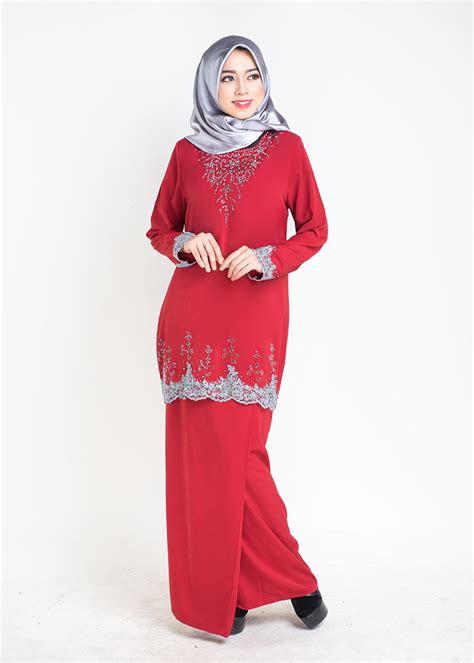 Baju Raya Warna Merah baju kurung moden safiyya plus size lovelysuri