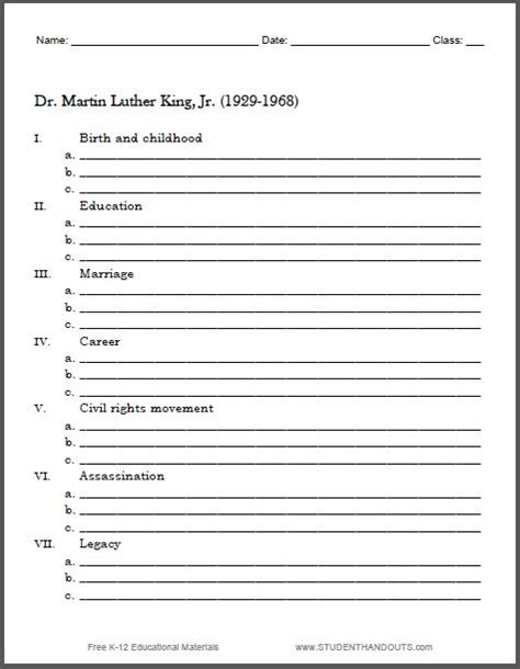 printable biography organizer martin luther king biography outline worksheet free