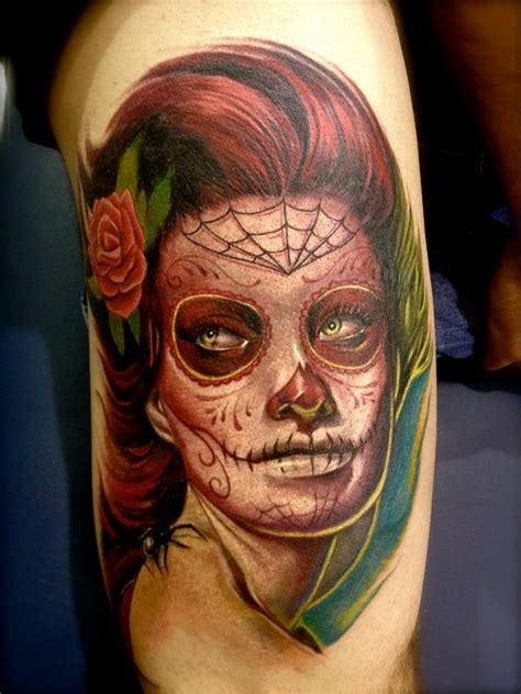 big gus tattoo shop colored realistic portrait of day of the dead by