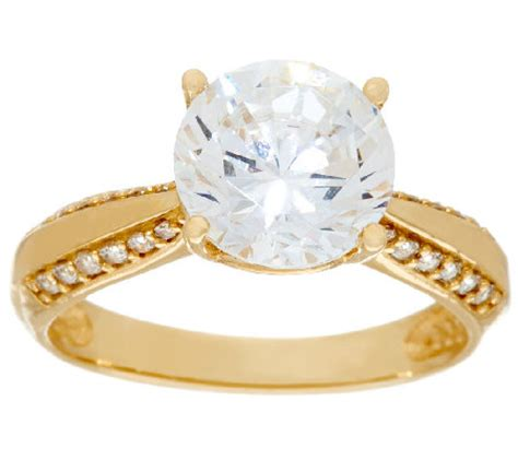 diamonique 3 00ct solitaire ring 14k gold qvc