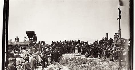 the sections of the transcontinental railroad join in america s first transcontinental railroad joined up on may