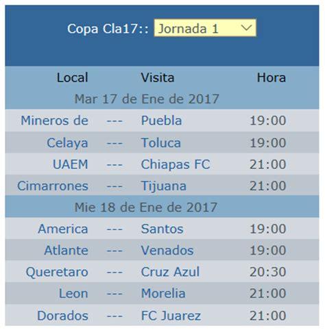 Calendario Jornada Calendario Jornada 1 Copamx Clausura 2017 Apuntes De Futbol