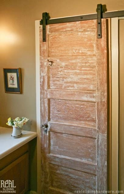 Barn Doors For Bathroom Barn Door Hardware Rustic Bathroom San Luis Obispo By Real Sliding Hardware