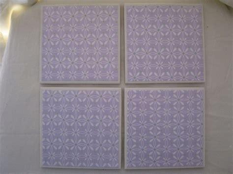 Ceramic Tiles Handmade - ceramic tile coaster set handmade lavender green white