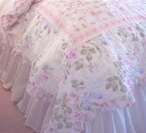 full shabby cottage chic white ruffled bedskirt dust