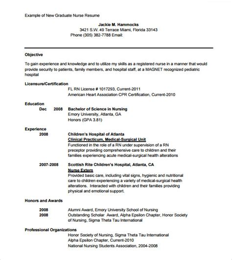 Nursing Resume Templates For New Graduates Sle Nursing Resume 8 Free Documents In Pdf Word Psd