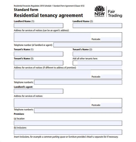 residential tenancy agreement template sle residential rental agreement 12 exles format