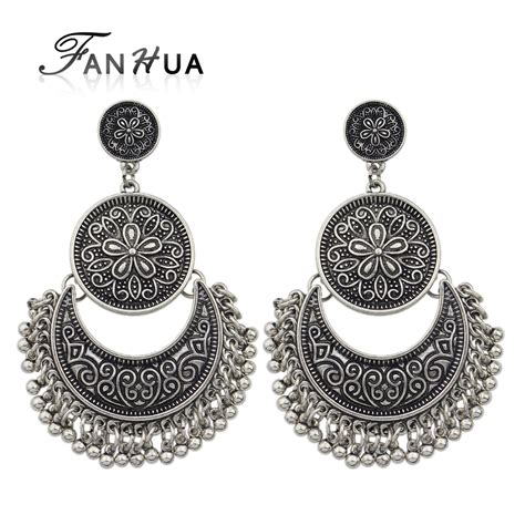 fanhua jewelry chandelier earrings antique gold color silver color big geometric ethnic