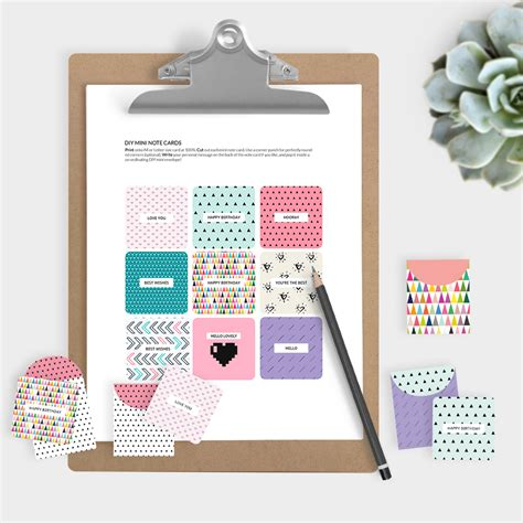 printable small note cards mini note cards and envelopes set of 9 mini cards free