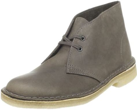 clarks womens desert boot in gray grey leather lyst