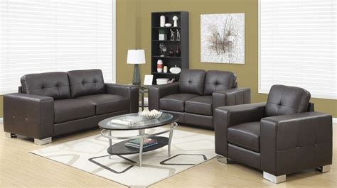 leather living room set dark brown bonded leather living room set 8223br monarch