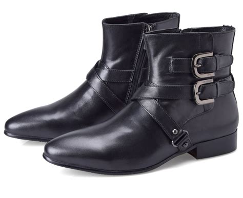 over ankle boots motorcycle aliexpress com buy double buckle pointed toe black boots