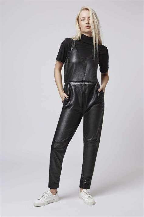 black leather womens topshop leather jumpsuit in black lyst