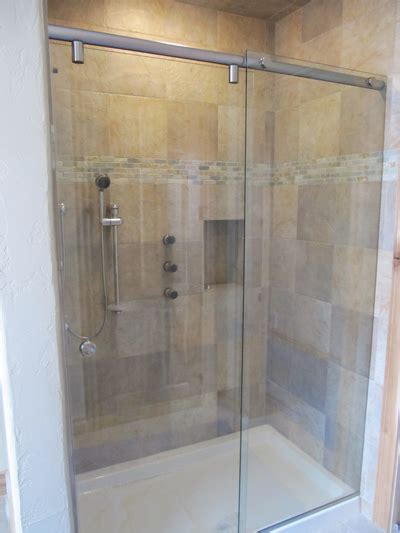 frameless sliding glass bathtub doors frameless sliding shower door gallery custom shower enclosures heavy glass