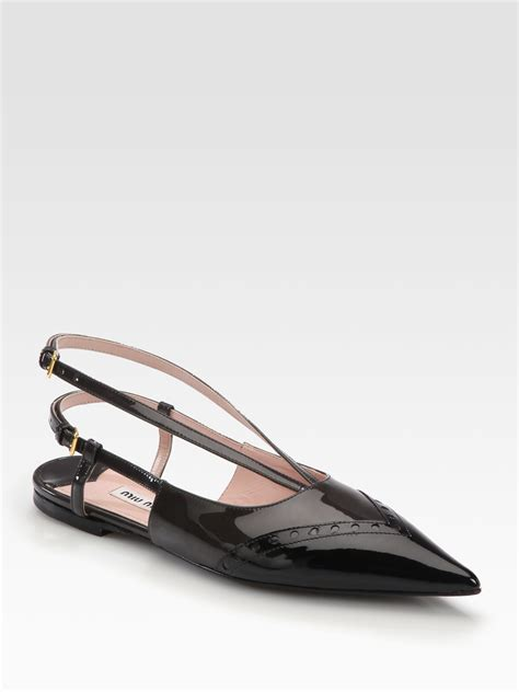 lyst miu miu perforated patent leather slingback flats