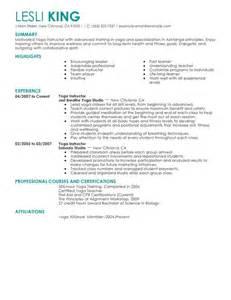 Yoga instructor resume sample my perfect resume