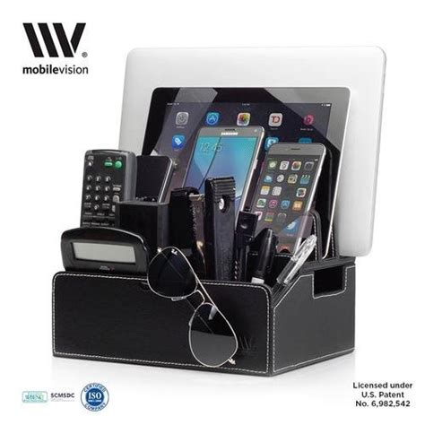 amazon com multi device charging station organizer imlezon 6 port mobilevision charging station faux leather executive stand