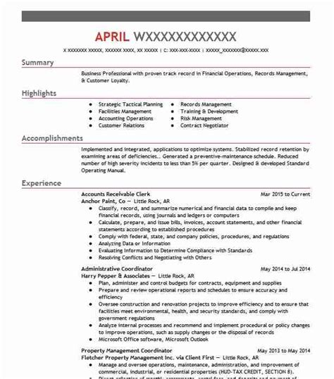 accounts receivable resume templates best accounts receivable clerk resume exle livecareer