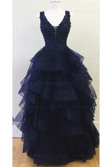 V Neck Lace Evening Gown navy v neck lace prom dresses evening gowns 3020338