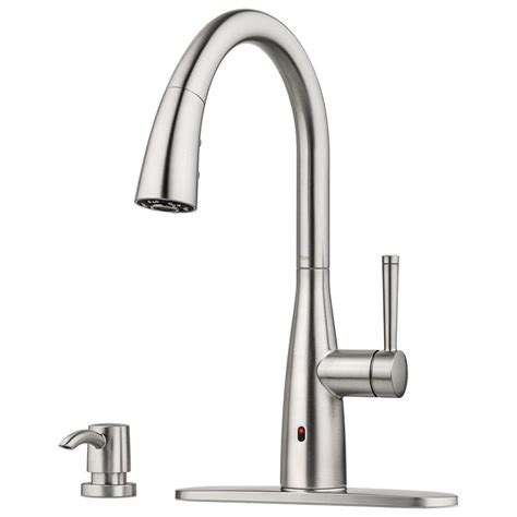 touchless kitchen faucet shop pfister raya spot defense stainless steel 1 handle