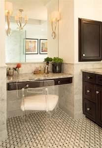 Makeup Vanity Nook Bathroom Nook With Espresso Floating Vanity And Lucite