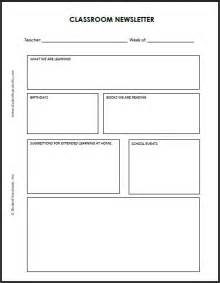 Classroom Weekly Newsletter Template by Blank Classroom Newsletter Template Student Handouts