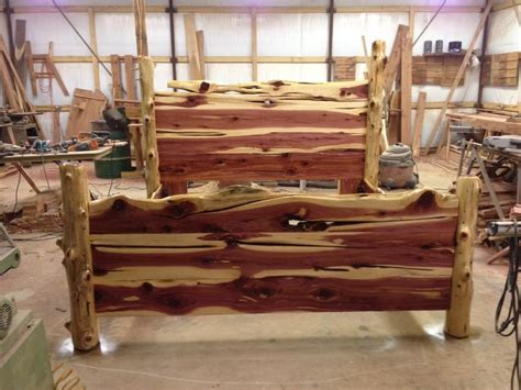 Log Wood Bed Frame Rustic Cedar Bed More Than Wood Sawmill Pinterest Log Furniture Woods And Logs