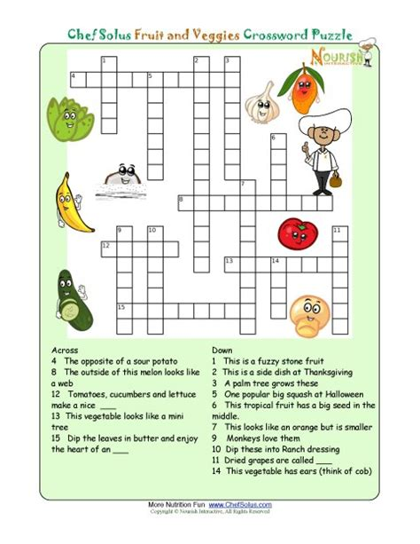 printable crossword puzzles vegetables printable nutrition crossword puzzle fruits and veggies