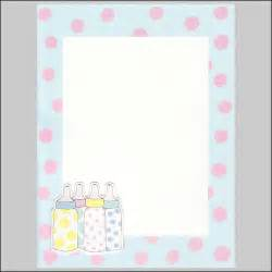 baby shower page borders baby blue border with pink polka dots and bottles topper