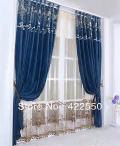 Navy Living Room Curtains Aliexpress Buy Continental Chenille Navy Blue