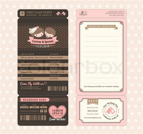 retro ticket place card template groom and vintage boarding pass ticket wedding