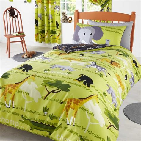 jungle bedding animal themed kids bed cover and curtain design photo