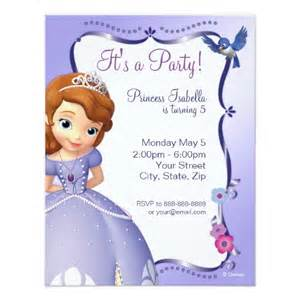 sofia the first birthday invitation card
