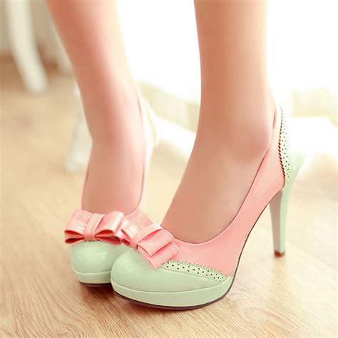 Sandal Wanita C60 Classic Heels Pink bow sweet platform high heel leather