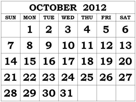 October 2012 Calendar The Who Horror Crap It S October Already