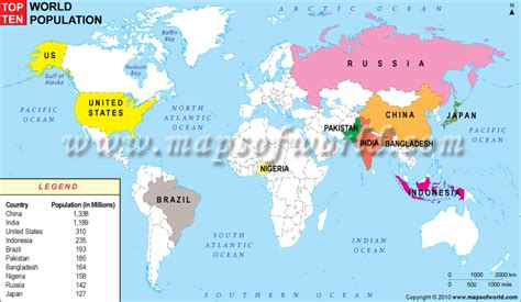 world city population map top 10 most populated countries in the world world maps