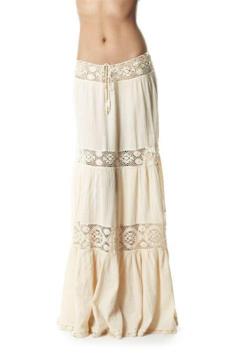 skirt white gauze skirt maxi skirt hippie