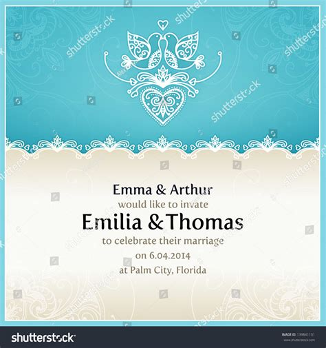 solemnization invitation card template blue wedding invitation design template doves stock vector
