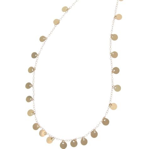 14k yellow gold tiny disc necklace 18 inches also