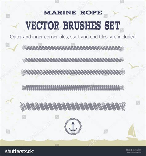 pattern brush rope marine rope style vector pattern brushes set with outer